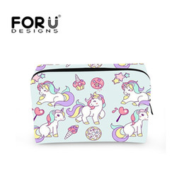 Barato Sacos De Higiene Para Mulheres-Forudesigns Unicorn Women Cosmetic Bag para maquiagem de moda Kawaii Design Toiletries Multicolor Cosmetic Case Trousse De Maquillage Neceser