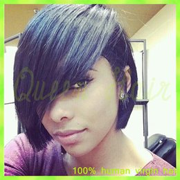 Discount ombre curly human hair wigs bang Glueless Full Lace Wigs With Bangs Lace Front Wig Human Hair Short Hair Indian Virgin Wig Short Human Hair Wigs For Blac