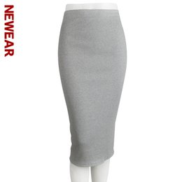 Barato Saias Longas E Finas-Atacado- NOTÍCIAS 2017 Outono e Inverno Pacote Hip saia Mulheres Slit Step Stretch Feminino Slim Thin Waist Long Skirts Solid Color Skirt