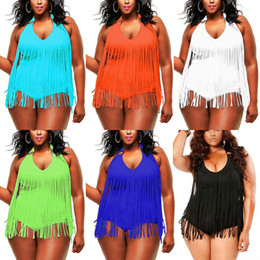 2017 plus size swimwear Plus Size One piece Tassels Swimwear Sexy V neck Women Swimsuit Padded Boho Fringe Big size Bathing Suit 7 Colors