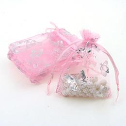 Plastic Drawstring UK - 7x9cm Pink Butterfly Bronzing Organza Jewelry Popular Bags Small Drawstring Pouches Pochette Tulle Bonbon 100pcs lot Wholesale
