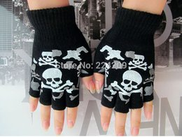 Wholesale new hip hop graffiti skeleton skull half finger gloves colors Preferential Piece