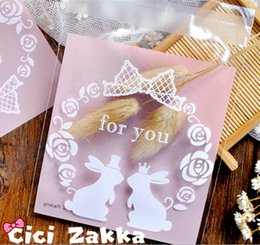 $enCountryForm.capitalKeyWord Australia - Free shipping rose rabbit couple decoration self adhesive bag gift packing bags cookie candy bags wedding party supply favors