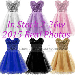 Barato Barato Branco Querida Prom-Em Stock Vestidos baratos Homecoming Gold Black Blue White Sequins rosa Sweetheart A Line Short Cocktail Party Vestidos de baile 100% Imagem real 2015