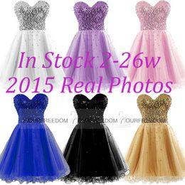 En stock robes de bal pas cher d'or noir bleu blanc rose paillettes chérie une ligne courte cocktail robes de bal 100% Real Image 2015