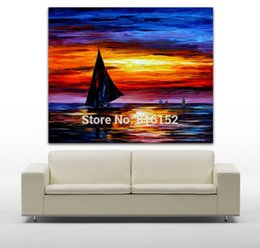 Sailing Boat On Sunset Sea View Palette Knife Oil Drawing Mural Art Picture  Canvas Print For Home Living Bedroom Wall Decor