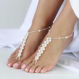 3 branelli bianchi dei gioielli del piede delle scarpe di yoga di nozze della spiaggia dei sandali a piedi nudi di Barefoot liberano il trasporto in Offerta