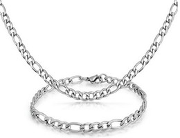 $enCountryForm.capitalKeyWord UK - New 22''+8.5'' 316L Stainless Steel Jewlery Set 7mm wide Figaro NK Chain Link necklace & bracelet for Fashion Men Women Gifts Silver Tone