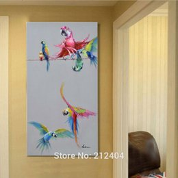 painting cute animals Canada - Cartoon Animal Beautiful Birds Cute Parrot Hand-painted Oil Painting on Canvas Mural Art Drawing for Office Bedroom Wall Decoration
