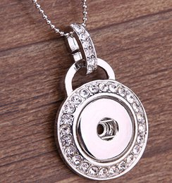 $enCountryForm.capitalKeyWord Canada - 2015 Fashion DIY Snaps Jewelry Silver Crystal Round 18mm Snaps Button Pendant Necklace with snake chain