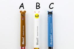 $enCountryForm.capitalKeyWord Australia - 3PCS LOT Cartoon Pens 3 Colors Kawaii Ryan Muzi Neo Frodo Stationery Dolls Creative Kids Learning Tools For Student