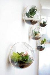 Ingrosso 5PCS / Lotto parete serbatoio di pesce in vetro, parete vaso vaso decorazione della parete soggiorno, casa ornamento, decorazione della casa, inaugurazione della casa