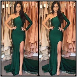 Barato Vestido Verde Escuro De Manga-Dark Green Side Split Prom Dresses 2018 Um Ombro Long Sleeve Mermaid Zipper Back Evening Gowns