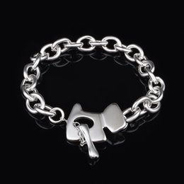 wholesale pure 925 silver bracelet NZ - Free Shipping with tracking number Top Sale 925 Silver Bracelet Pure silver dog tag Bracelet Silver Jewelry 20Pcs lot cheap 1567