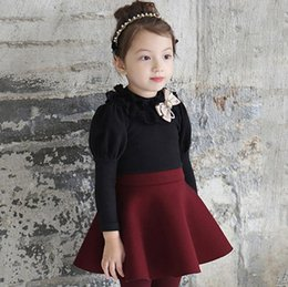 Longue Robe Manches Longues Noir Pas Cher-Collier en Corée Mode enfants filles manches bouffantes long ruban Bow dentelle Robes enfants Princesse Rose Noir patché Couleur One-Piece Dress