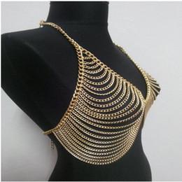 Mujeres atractivas joyería de la cintura Tone Mesh Body Chain Bra Sujetador Esclavo Plata Oro Crystal V Collar
