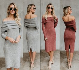 Wholesale Hot Selling Women Casual Fashion Knitted Dresses Long Sleeve Strapless Sexy Evening Party Dresses Plus Size Girls Short A Line Dress