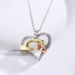 $enCountryForm.capitalKeyWord Canada - Big hand pull the small hand Mother and baby heart pendant with necklace