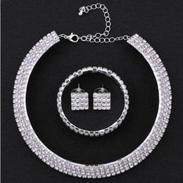 Western earrings necklace sets online shopping - Western Pop Bridal Necklace Sets Hot Sale Rhinestone Earrings Bangles Women Wedding Party Accessories