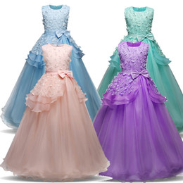 Discount long lycra gowns New Teenager Girl Dresses for Girls Birthday Wedding Party Pageant Long Princess Dress Kid New Year Costume Children Clothes