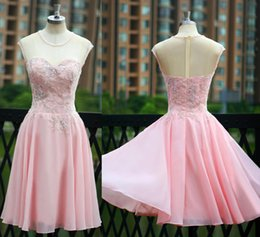 Barato Vestido Curto Do Chiffon Dos Beadings-Short Pink Homecoming Vestidos 2015 Fashion Jewel Neck Sleeveless Beadings Tulle Chiffon Prom Vestidos Zipper Voltar Custom Made H58