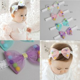 white cotton bandanas wholesale NZ - 2016 Lovely Baby Hair Bow Girl Infant Kids Adorable Hair Bands Balls Cotton Children Hair Accessories Pretty Headbands K6428