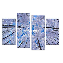 Life Tree Decors Canada - 4PCS paints white tree arts skyline Wall painting print on canvas for home decor ideas paints on wall pictures art No framed