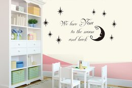 Moon Stars Vinyl Wall Stickers Home Decor Wer Love You To The Moon And Back  Quote Wall Stickers For Kids Room