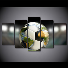 Art Canvas Prints Australia - 5 Piece HD Prints Canvas Wall Art Pictures Soccer Football World Map Living Room Home Decor Framework Paintings Posters