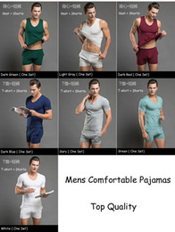 sexy man t shirts tank NZ - Wholesale-7 Color Men Comfortable Cotton Pajamas Set T Shirt Shorts Sexy Mens Underwear Tees Undershirts Tshirts Sleepwear Tank Top Boxers