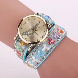 Eiffel Tower Bracelet Watch Canada - 2015 NEW Eiffel Tower fashion bracelets watches women ladies diamond leather lovely dress watch wrist quartz watches for women