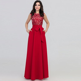 China Fashion Evening Gowns UK - European Fashion New Dress Jewel Neck Gown Evening Long Dress With Pink Red Gray Blue Colors For You Choose From China