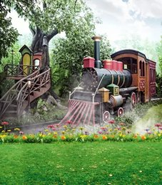 Discount scenic muslin photo background backdrop - 5X7ft New Park Garden Vintage Train Baby Props Studio Backgrounds For Photos Muslin Computer Printed Vinyl Photography B