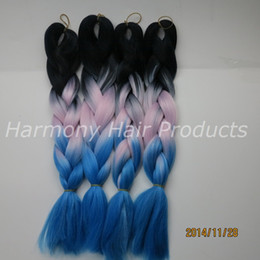 $enCountryForm.capitalKeyWord Canada - Kanekalon Jumbo Braid hair BlackΠnk&Light Blue 100g 20inch Ombre three tone Colored Xpression Synthetic Braiding Hair Extensions