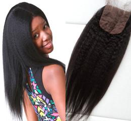 Peerless virgin hair online shopping - Hot selling silk base closure x4 romance peerless coarse yaki hair top closure virgin Russian human hair three part closure G EASY
