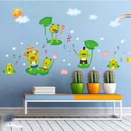 cartoon decals NZ - Cartoon Frog Singing in the Pool Wall Art Mural Decor Sticker Pond View in the Summer Kids Room Wallpaper Decal Poster Graphic