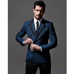 Purple Tuxedo Coat Canada - 2018 new blue coat lapel double breasted black pants men suit groom tuxedo formal business suit custom