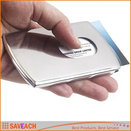 Man Business Card Holder Canada - Business Card Holder Women Vogue Thumb Slide Out Stainless Steel Pocket ID Credit Card Holder Case Men Free Shipping