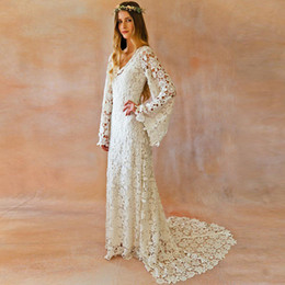 Quality Beach Wraps Canada - High Quality Full Lace Ivory White Beach Wedding Dresses With Long Speaker Sleeve V Neck Bohemain Bridal Gown 2018