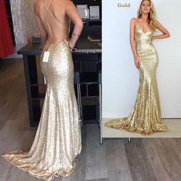 $enCountryForm.capitalKeyWord Australia - vestido para formatura Mermaid Evening Prom Dresses Trends Gold Champagne Sequined Party Gown Cross Straps Deep V Neck robe de soiree