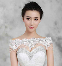 Wholesale 2016 New arrive Bride jewelry luxury crystal beads lace diamond shoulder chain tassel epaulets necklace Wedding dress accessories yzs168