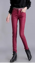 Wholesale tight black leather pants women for sale - Group buy Han edition leisure women new winter fashion show thin elastic waist with velvet in tight little pencil leather pants S xl