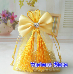 $enCountryForm.capitalKeyWord NZ - Free Ship 100pcs Organza Bags With Crystal Heart Tassel Bowknot Business Promotional Packaging Bag Sachet Candy Beads Christmas Gift Bags