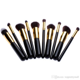 $enCountryForm.capitalKeyWord UK - 2015 New 10pcs Golden Black makeup brush Synthetic Makeup Brush Set Cosmetics Foundation Blending Blush Eyeliner Face Powder Brushes
