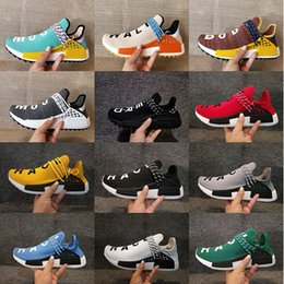 Barato Sapatos Azuis Atacado-Atacado NMD Human Race Hu trail Running Shoes Masculino Womens Pharrell Williams NMD Amarelo nobre núcleo de tinta Black Red Runner Boost Shoes