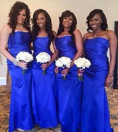 $enCountryForm.capitalKeyWord Canada - Plus Size Vestido Para Madrinhas Fashion Bridesmaid Dresses Royal Blue Mermaid Satin Long Bridemaid Dress 2016 Cheap