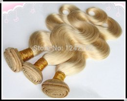 Brazillian Weave Hair NZ - 1pcs lot mixed size brazillian virgin hair body wave #613 Bleach blonde unprocessed virgin brazilian human hair weaves Double Drawn