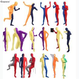 $enCountryForm.capitalKeyWord Canada - Wholesale-(5 pieces lot) Ensnovo Men Spandex Lycra Nylon Full Body One Piece Bodysuit Double Color Zentai Suit Costumes Custom Skin Tights