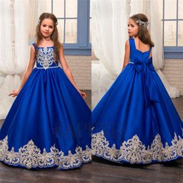 blue sash flower girl dress NZ - 2017 Royal Blue Flower Girl Dresses O-Ncek Appliques Sleeveless Ball Gown Formal Bow Sashes First Communion Gowns Vestidos Longo754