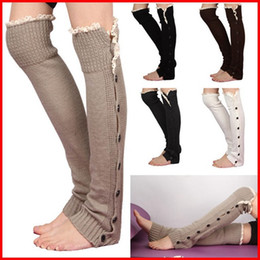 $enCountryForm.capitalKeyWord NZ - 30 pairs lot Fashion Girls Lady Women Winter Leg Warmer Button Crochet Knit Boot Socks Toppers Cuffs Stocking Socks Boot Covers Leggings